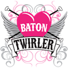 Baton Twirler Heart & Wings