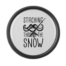 Staching Through the Snow Large Wall Clock
