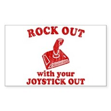 Rock Out With Your Joystick O Sticker (Rectangular