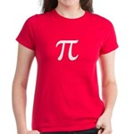 Women's Pi T-Shirt - Bright & Bold Darker colors with large Pi symbol on front. - Availble Sizes:Small,Medium,Large,X-Large,2X-Large (+$3.00) - Availble Colors: Black,Red,Caribbean Blue,Violet,Pink,Navy,Charcoal Heather,Kelly