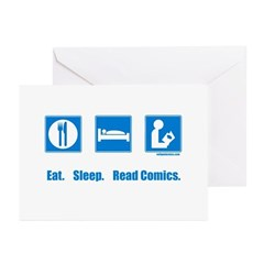 Eat. Sleep. Read comics Greeting Cards (Package of
