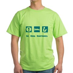 Eat. Sleep. Read comics Green T-Shirt
