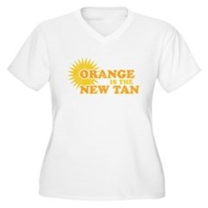Orange is the New Tan Womens Plus Size V-Neck T-S