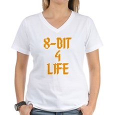 8-Bit 4 Life Womens V-Neck T-Shirt