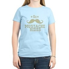 5¢ Mustache Rides (Vintage) Womens Light T-Shirt