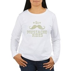 5¢ Mustache Rides (Vintage) Womens Long Sleeve T-