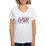 Ask Me About Warbler Neck Women's V-Neck T-Shirt