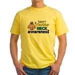 Support Warbler Neck Awareness Yellow T-Shirt