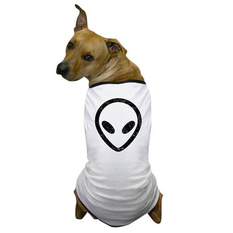 Black Distressed Alien Head Dog T-Shirt