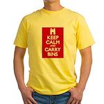 Keep Calm Carry Bins Yellow T-Shirt