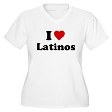 I Love [Heart] Latinos Womens Plus Size V-Neck T-