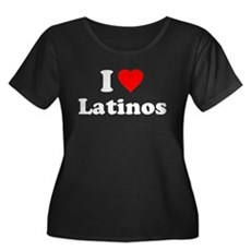 I Love [Heart] Latinos Womens Plus Size Scoop Nec