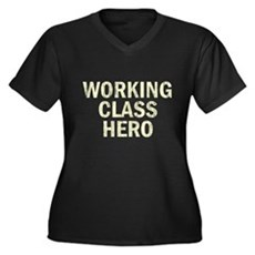 Working Class Hero Womens Plus Size V-Neck Dark T