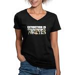 Extinction is Forever Women's V-Neck Dark T-Shirt