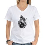 Long-eared Owl Sketch Women's V-Neck T-Shirt