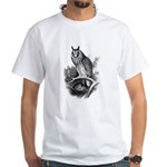 Long-eared Owl Sketch White T-Shirt
