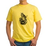 Long-eared Owl Sketch Yellow T-Shirt
