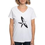 Scissor-tailed Kite Cartoon Women's V-Neck T-Shirt
