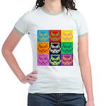 Pop Art Owl Face Jr. Ringer T-Shirt