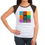 Pop Art Owl Face Women's Cap Sleeve T-Shirt