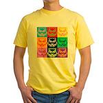 Pop Art Owl Face Yellow T-Shirt
