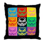 Pop Art Owl Face Throw Pillow