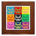 Pop Art Owl Face Framed Tile