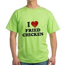 I Love [Heart] Fried Chicken Green T-Shirt