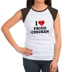 I Love [Heart] Fried Chicken Womens Cap Sleeve T-