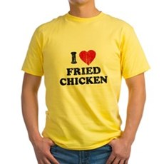 I Love [Heart] Fried Chicken Yellow T-Shirt