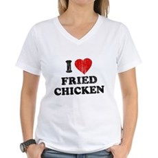 I Love [Heart] Fried Chicken Womens V-Neck T-Shir