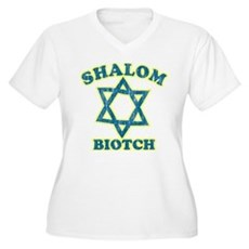 Shalom Biotch Plus Size V-Neck Shirt