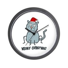 Meowy Christmas Christmas Cat Wall Clock