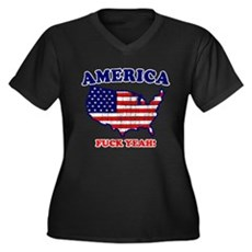 America Fuck Yeah! (Distresse Womens Plus Size V-