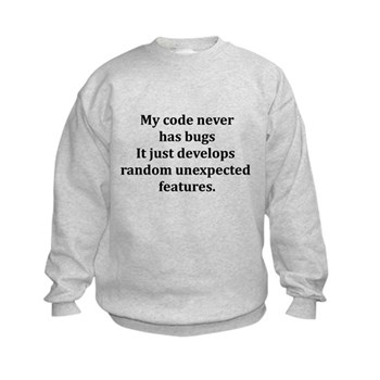 Code Bug Free Kids Sweatshirt | Gifts For A Geek | Geek T-Shirts