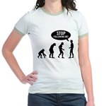 Evolution is following me Jr. Ringer T-Shirt - Availble Sizes:Small,Medium,Large,X-Large - Availble Colors: Pink/Salmon,Yellow/Gold,Mint/Avocado,Navy/White