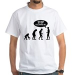 Evolution is following me White T-Shirt - Availble Sizes:Small,Medium,Large,X-Large,X-Large Tall (+$3.00),2X-Large (+$3.00),2X-Large Tall (+$3.00),3X-Large (+$3.00),3X-Large Tall (+$3.00),4X-Large (+$3.00) - Availble Colors: White