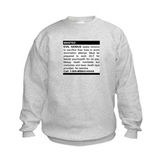 Evil Genius Personal Ad Kids Sweatshirt