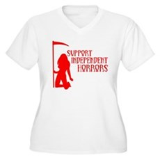 Support Independent Horrors Womens Plus Size V-Ne