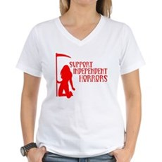 Support Independent Horrors Womens V-Neck T-Shirt