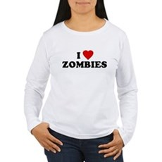 I Love [Heart] Zombies Womens Long Sleeve T-Shirt