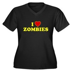 I Love [Heart] Zombies Womens Plus Size V-Neck Da