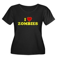 I Love [Heart] Zombies Womens Plus Size Scoop Nec
