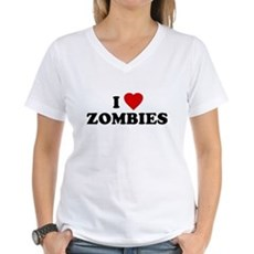 I Love [Heart] Zombies Womens V-Neck T-Shirt