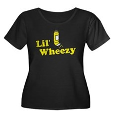 Lil' Wheezy Womens Plus Size Scoop Neck Dark T-Sh