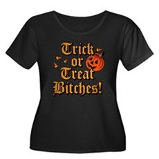 Trick or Treat Bitches! Womens Plus Size Scoop Ne