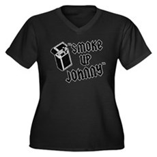Smoke Up Johnny Womens Plus Size V-Neck Dark T-Sh