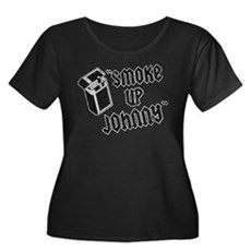 Smoke Up Johnny Womens Plus Size Scoop Neck Dark