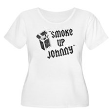 Smoke Up Johnny Womens Plus Size Scoop Neck T-Shi