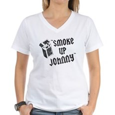 Smoke Up Johnny Womens V-Neck T-Shirt